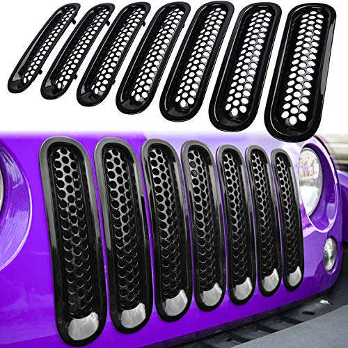 E-cowlboy 7PCS Front Grill Mesh Inserts Clip-in Grille Guard for 2007~2017 Jeep Wrangler JK JKU Unlimited Rubicon Sahara (Glossy Black)