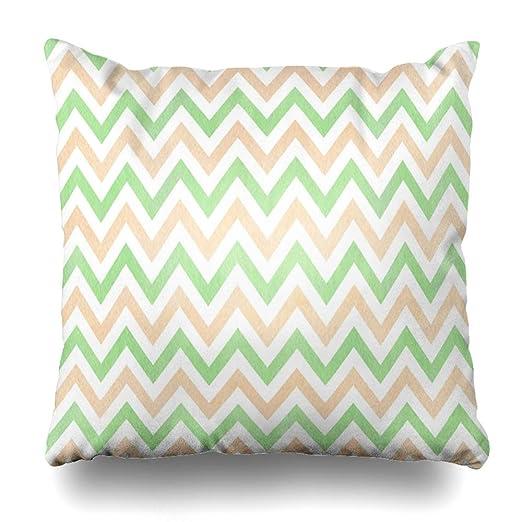 Ahawoso Funda de almohada con patrón retro, acuarela, verde ...