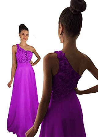 Ladsen Sweet 16 One Shoulder Sheer Lace Prom Dresses Chiffon Long L273 Purple US12 Size