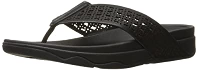 e622316fc FitFlop Women s Leather Lattice Surfa Floral FLIP Flops