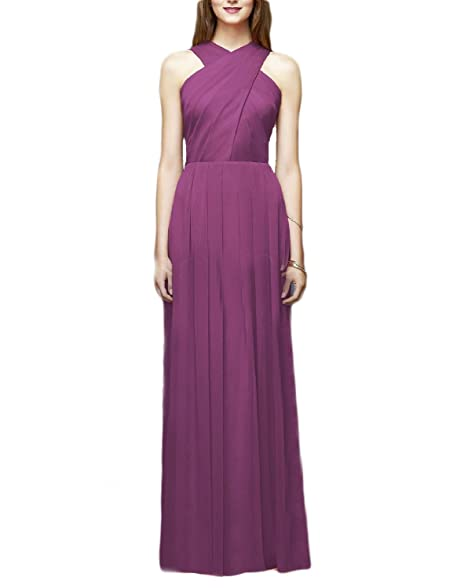 2018 New A Line Ruffled Womens Long Halter Fashion Bridesmaid Dresses Evening Gown Formal Party Celebrity