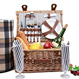 SatisInside UPGRADED INSULATED Deluxe 17Pcs Kit Wicker Picnic Basket Set For 2 People - Reinforced Handle - Plus A Free Waterproof Fleece Blanket Worth 16.99 - Grey Stripes