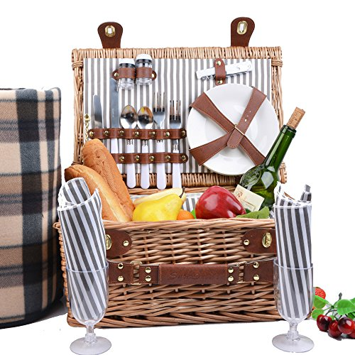 Bottle Mate 2 - SatisInside UPGRADED INSULATED Deluxe 17Pcs Kit Wicker Picnic Basket Set For 2 People - Reinforced Handle - Plus A Free Waterproof Fleece Blanket Worth 16.99 - Grey Stripes