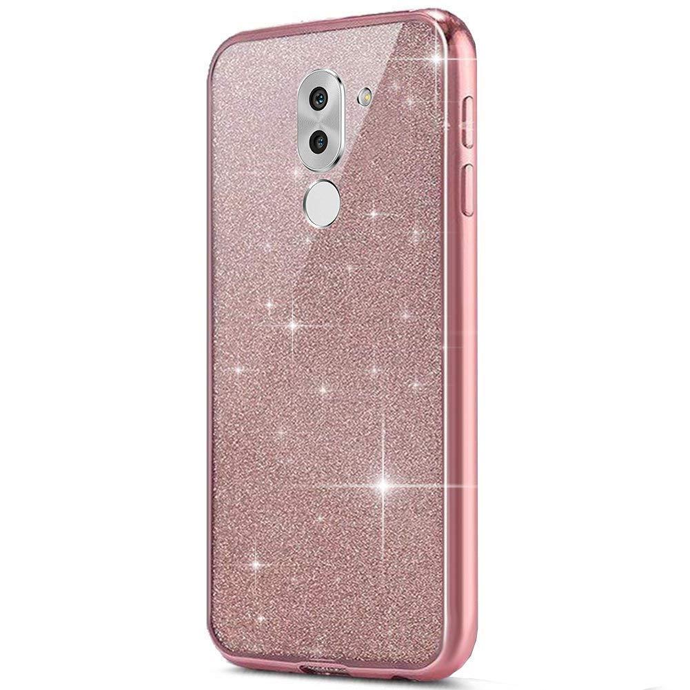 Custodia Huawei Honor 6X, Cover Huawei Honor 6X tpu, MoreChioce Glitter Diamond Strass Specchio TPU Silicone Case Cristallo protettive backcover [antigraffio] compatible Huawei Honor 6X, argento