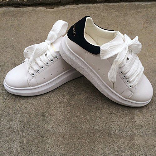 MEIREN 2016 Yuan San San, Korean Women's Shoes New with Small Moving White Shoes Alexander McQueen Shoes Leather Platform Spring Shoes, White, 39