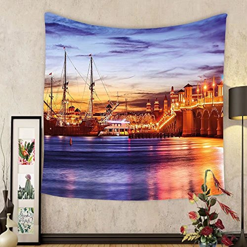 Gzhihine Custom tapestry United States Tapestry St. Augustine Florida Famous Bridge of Lions Dreamy Sunset Majestic for Bedroom Living Room Dorm 60 W X 40 L Orange Blue - Florida Augustine St Outlets