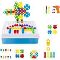 Flyme 193pcs Building Block Games with Toy Drill Screwdriver Tool Set Drill Play Creative Educational Toy
