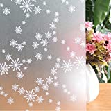 Window Film Snowflake Pattern Privacy Film Static Decoration Non-Adhesive Frosted Window Film Glass Film for Home Bathroom Office Meeting Room Living Room 17.7 x 78.7 Inches