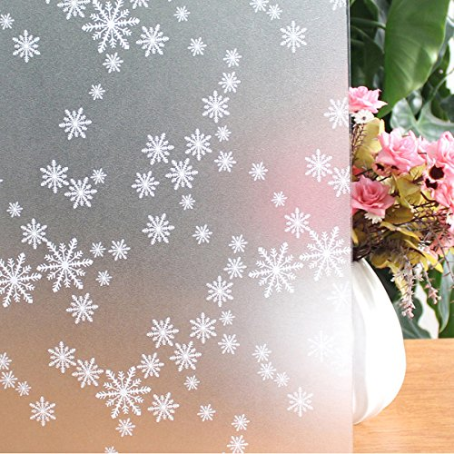 Window Film Snowflake Pattern Privacy Film Static Decoration Non-Adhesive Frosted Window Film Glass Film for Home Bathroom Office Meeting Room Living Room 17.7 x 78.7 - Snowflake Frosted Glass