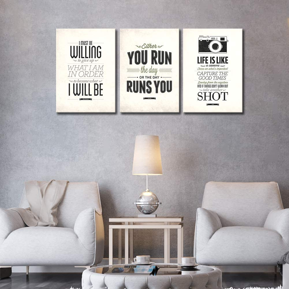 Amazon Com 3 Pieces Inspirational Canvas Wall Art For Bedrooms Quote Motivational Posters Bathroom Decor Encouragement Prints Black And White Canvas Artwork For Living Rooms Classrooms With Quotes 16x36inches Posters Prints