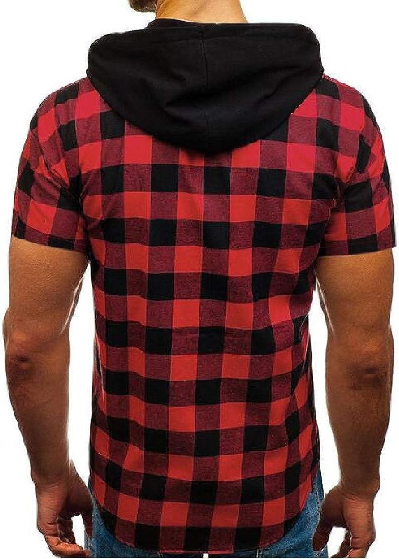 JYZJ Men Short Sleeve Button Up Hooded Plaid Print Summer Dress Work Shirt