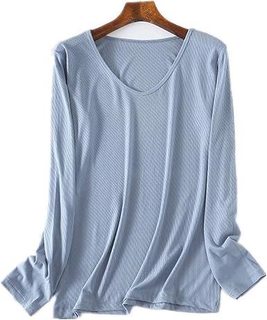 LUOYLYM Camiseta De Mujer Camisa De Manga Larga De Algodón Dividido con Cuello En V Color Sólido Chaqueta Exterior Delgada Azul Talla Única: Amazon.es: Ropa y accesorios