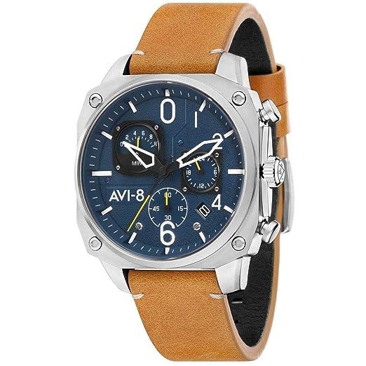AVI-8 Hawker Hunter Reloj de Hombre Cuarzo 45mm Correa de Cuero AV-4052-07: Amazon.es: Relojes