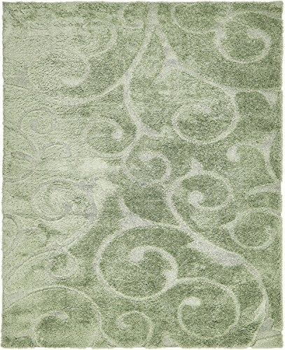 - Unique Loom Floral Shag Collection Soft Plush Modern Floral Vines Green Area Rug (8' x 10')