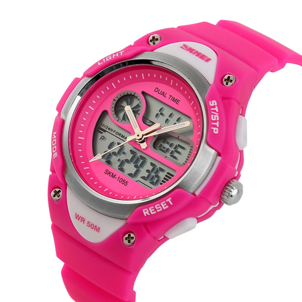 Girls Watches Digital Analog Dual Time Display Watch for Teens Youth Waterproof Rose by AMCAS (Image #6)
