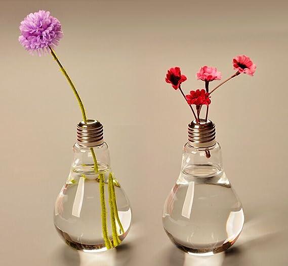 Bombilla Botella En Forma De Tabla Transparente Vidrio Florero Para Decoración Flor: Amazon.es: Hogar