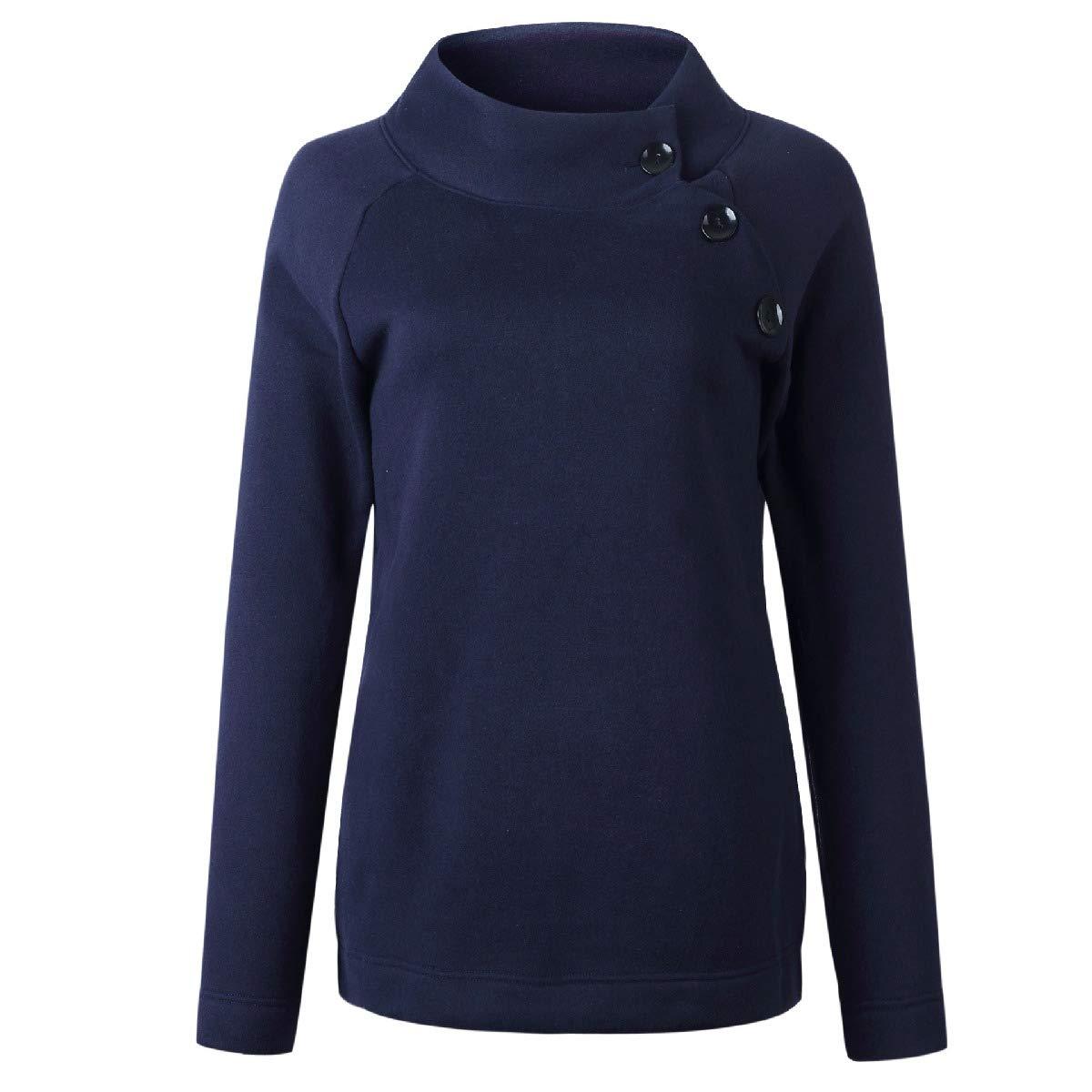 Zimaes-Women Long Sleeve Mock Neck Tops Outwear Pullover Sweatshirts