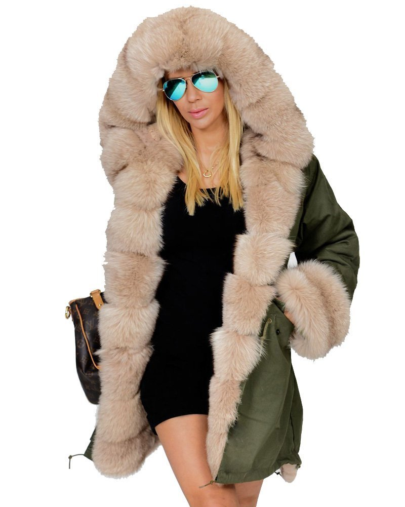 Roiii Lady Women Thicken Warm Winter Coat Hood Parka Overcoat Long Jacket Outwear