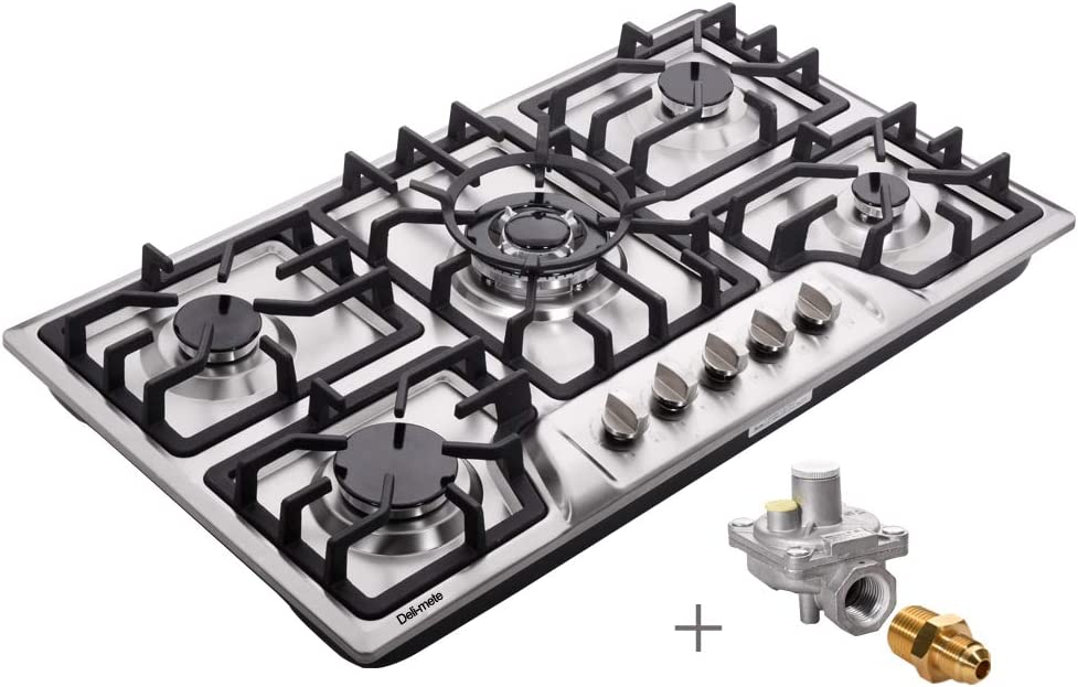 Hotfield HF825-SA03A 34 Inch Gas Cooktop Dual Fuel Sealed 5 Burners Stainless Steel Drop-In Gas Hob Gas Cooker