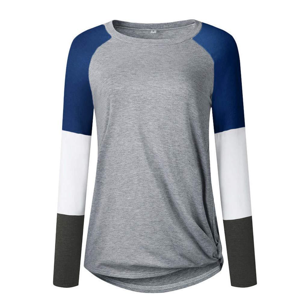 TWGONE Color Block Tops for Women Long Sleeve Tie Pullover Ladies Holiday Sweatshirt Blouse