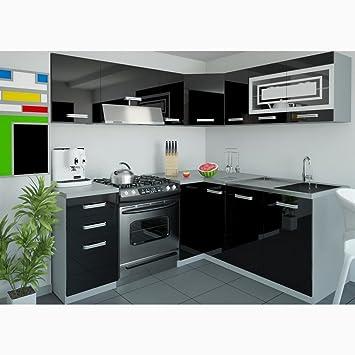JUSTyou Lidja L-Cuisine équipée complète 190x170 cm Couleur: Noir ...