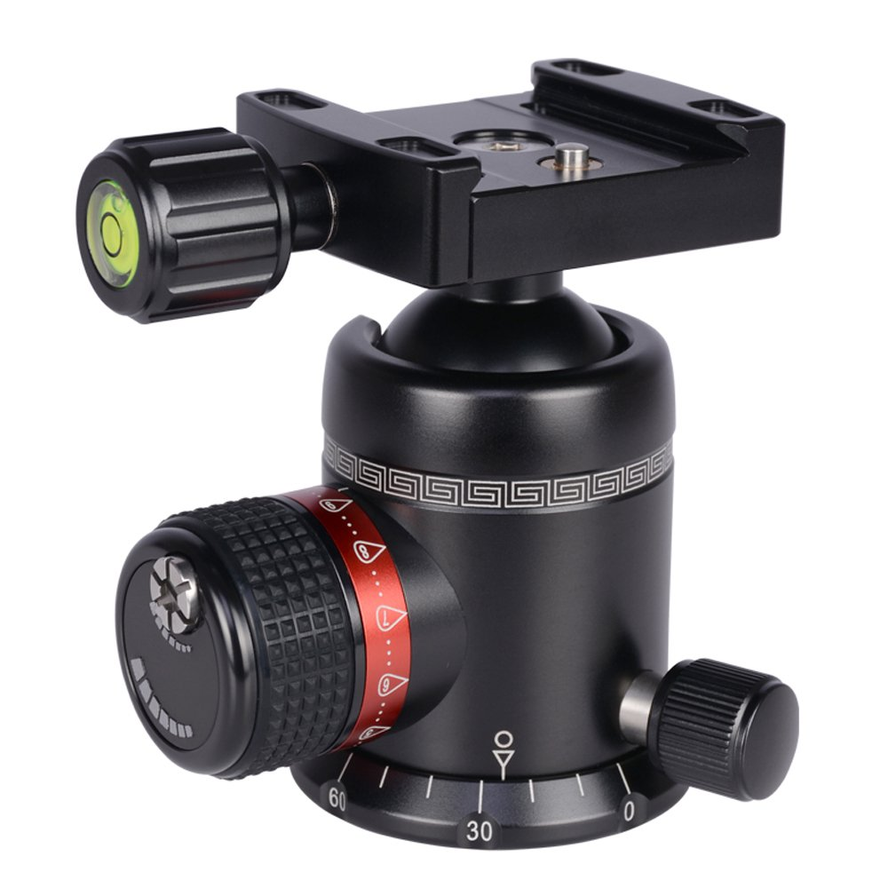AOKA tripod ball head 360 degree fluid rotation panoramic alluminium alloy heavy duty ballhead KK44 tripod head with quick release plate by AOKA (Image #3)