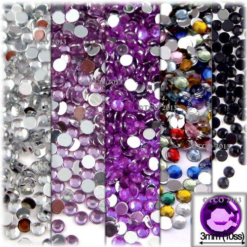 The Crafts Outlet 5-Pack Set (5X - 1,440-Piece), Round 3mm Rhinestones, Flatback, Purple Tones