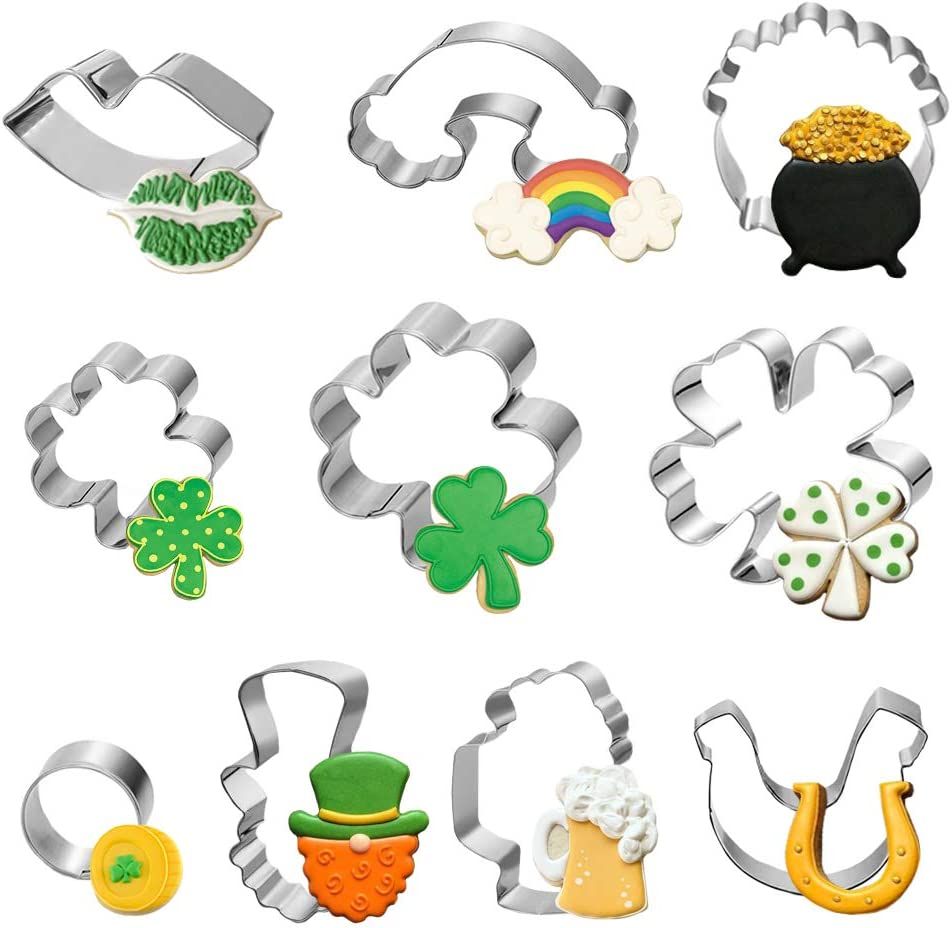 10 Pieces St.Patrick's Day Cookie Cutters Set Stainless Steel, For Baking Decorative Food St. Patrick's Day Irish Party Supplies