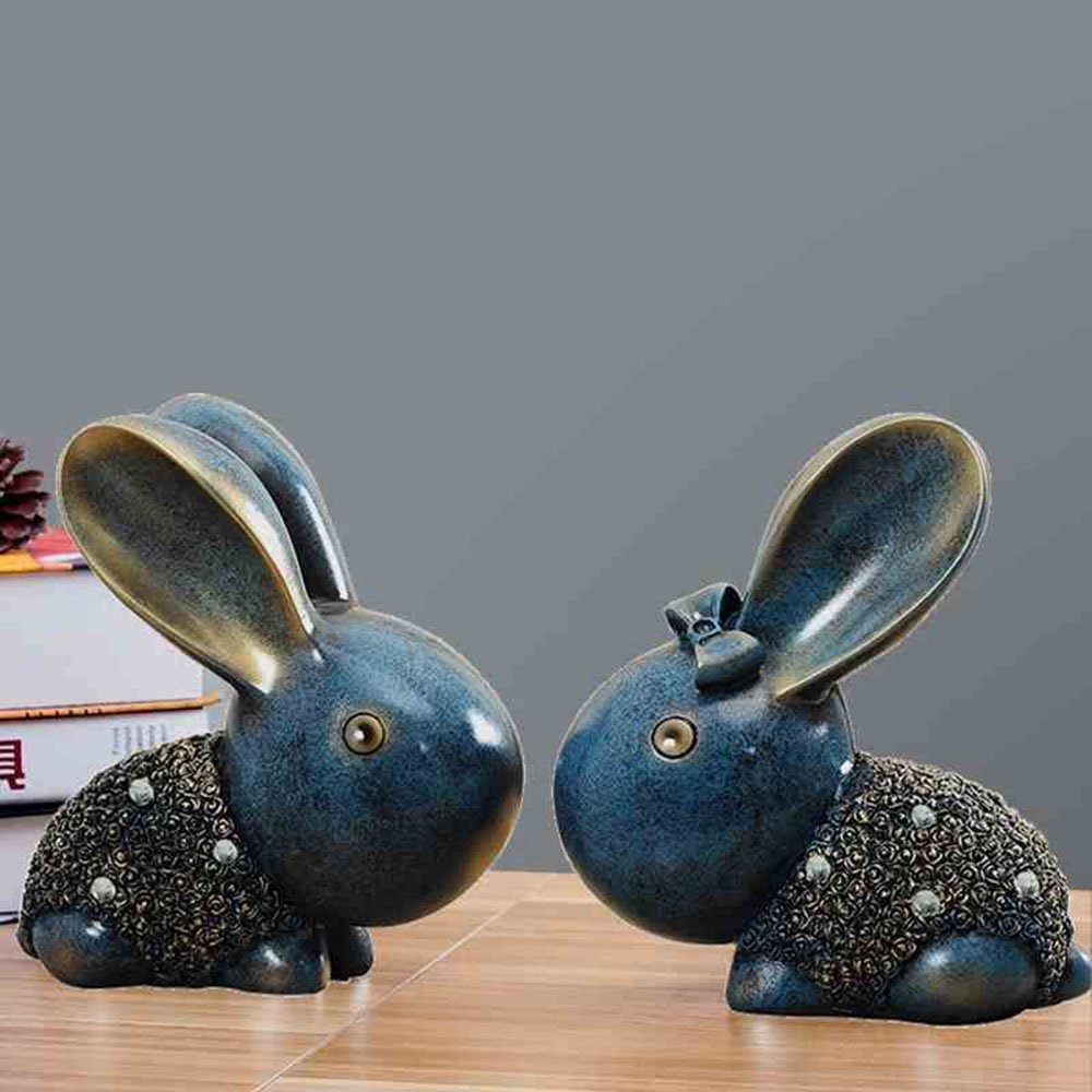 KTYXDE European American Couple Rabbit Decoration Home Accessories Creative Living Room Decoration Crafts Ornaments (Color : Silver)