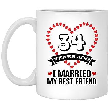 Amazoncom Happy 34 Years Wedding Anniversary White Ceramic Coffee