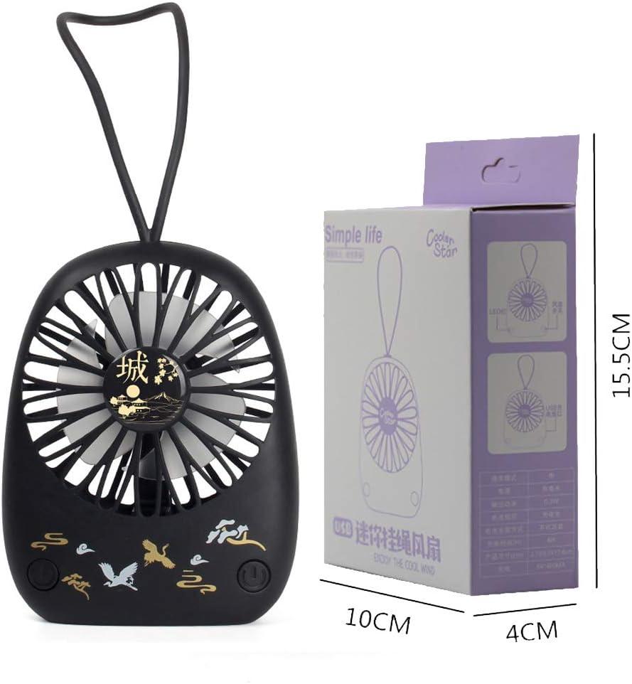 LHY NEWS Ventilador De Pedestal Silencioso, Mini Ventilador Portátil Pequeño, Ventilador De Carga USB De Escritorio, Reloj Despertador Ventilador De Mano,Negro,10 * 4 * 15.5CM