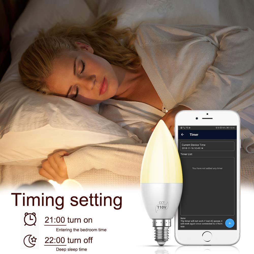 5-Channel RGBCW Wireless Smartphone App-Controlled Color Changing LED Bulb for Home Party Holiday Christmas 500LM INDARUN Bluetooth Mesh Smart Light Bulb E26 Dimmable 50 Watt Equivalent