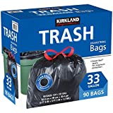 Kirkland Signature Drawstring Trash Bags – 33 Gallon – Xl Size – (90 count)