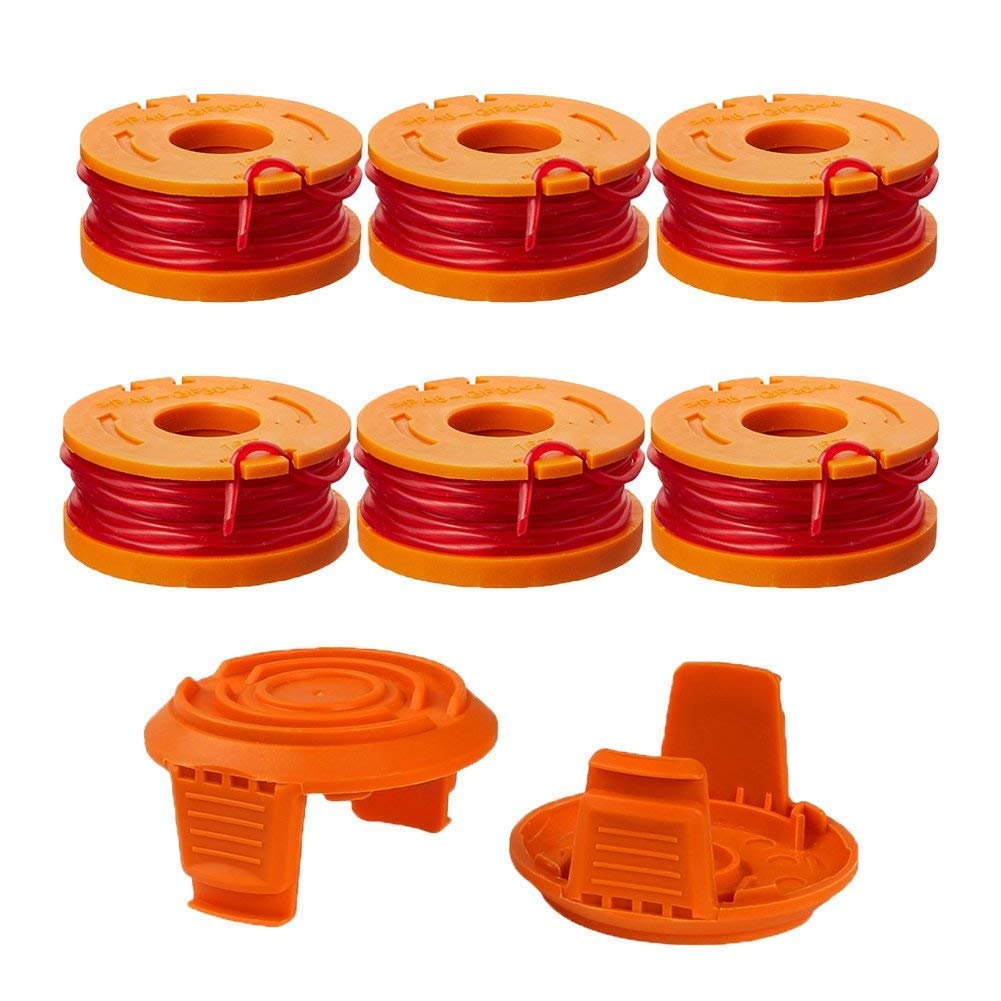Thten Edger Spools Replacement for Worx WG180 WG163 WA0010 Weed Wacker Eater String with WA6531 GT Spool Cover 50006531 String Trimmer Refills 10ft 0.065''(6 Spool, 2 Cap) by Faracent