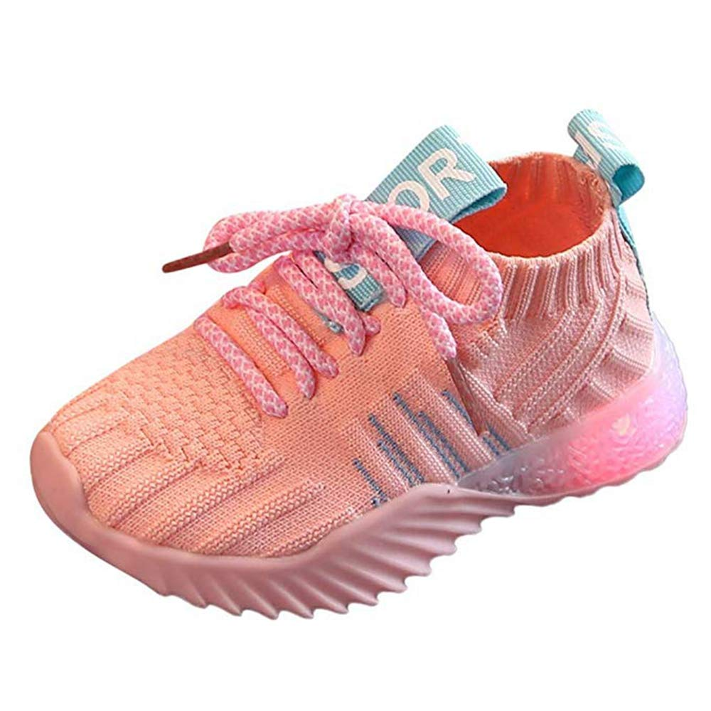 Kids LED Slip on Sneakers Light Up Flashing Sneakers Girls Boys Knit Comfortable Fashion Walking Shoes (Toddler/Little Kid) Pink by KINGLEN Baby shoes