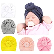CaJaCa 7 Pack Newborn Baby Toddler Cotton Hat Baby Girl Knotted Hat Cute Donut Soft Turban Bow Cap