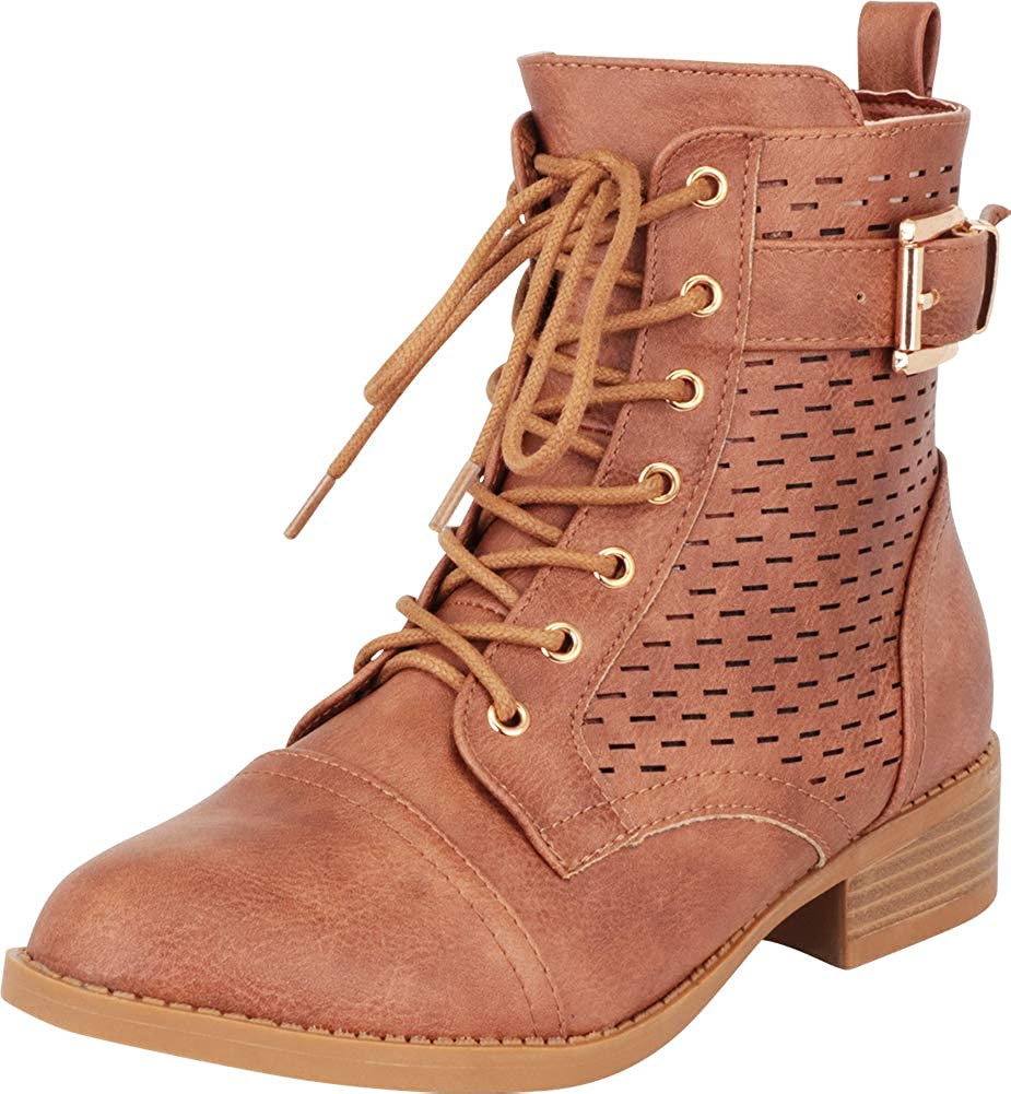 Tan Pu Cambridge Select Women's Perforated Buckled Strap Lace-Up Combat Boot