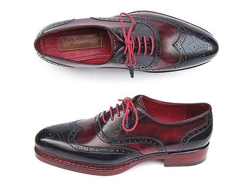 5d5e3082f804 Paul Parkman Men s Triple Leather Sole Wingtip Brogues Navy   Red (ID 027)
