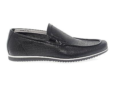 Men's FU7324BLACK Black Leather Loafers