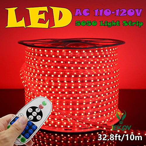 IEKOV trade; AC 110-120V Flexible LED Strip Lights, 60 LEDs/M, Dimmable, Waterproof 5050 SMD LED Rope Light + Remote Controller for Party Home Decoration (32.8ft/10m,Red)
