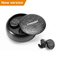 Wireless Bluetooth Headphones ,Tronsmart Bluetooth 5.0 TWS Sports Wireless Earphones 12H Playtime IPX5 Waterproof with Charging Case and Microphone Compatible with all Bluetooth Devices - Black