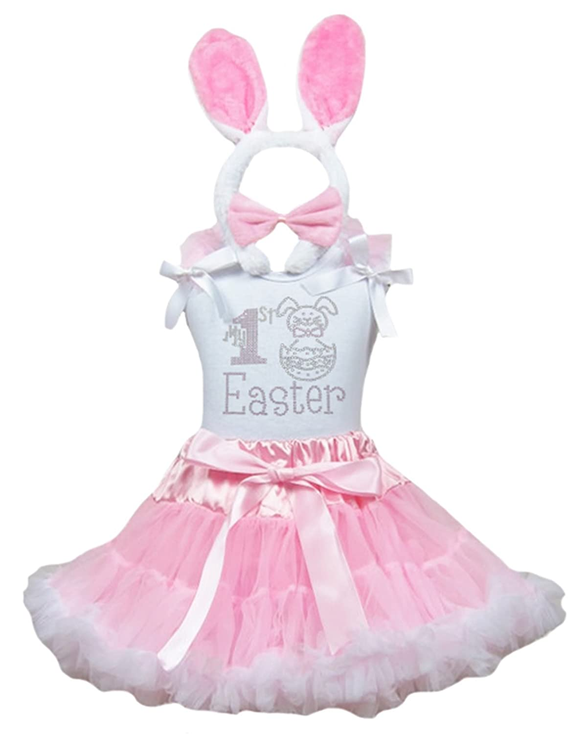 My 1st Easter Dress Rabbit Egg Shirt Pink White Skirt Rabbit Outfit Set 1-8y