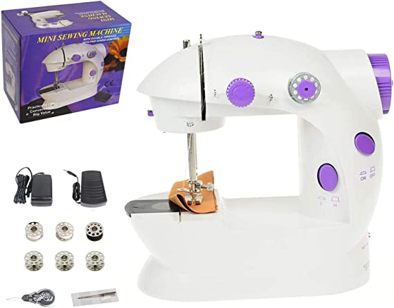 Portable Mini Sewing Machine Upgraded Eco-Friendly Material Dual Speed Portable Mending Machine Durable for Beginner Fabric Sewing Practical & Gifts