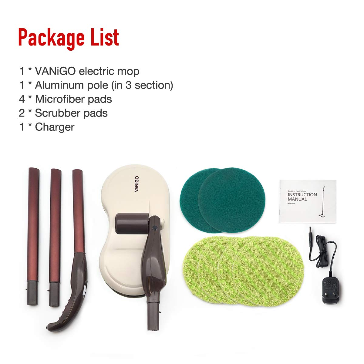 Electric Spin Mop, Cordless Floor Sweeper Cleaner with Dual Spinning Heads and Replaceable Pads for Tile Wood Hard Floor Window by VANiGO (Image #8)