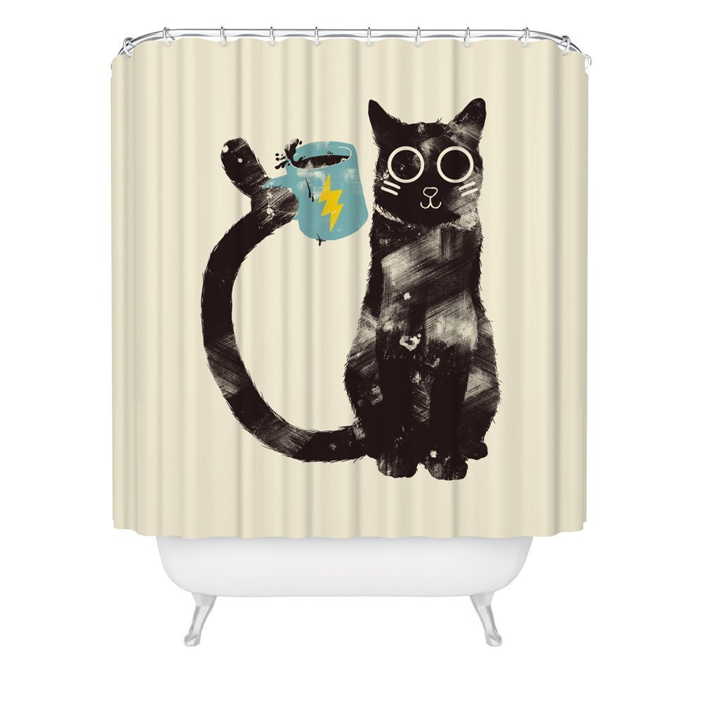 Cat Shower Curtain / Cute Funny Kitty Shower Curtain / Coffee Shower Curtain / Made in USA / Great Decoration Gift for Bathroom