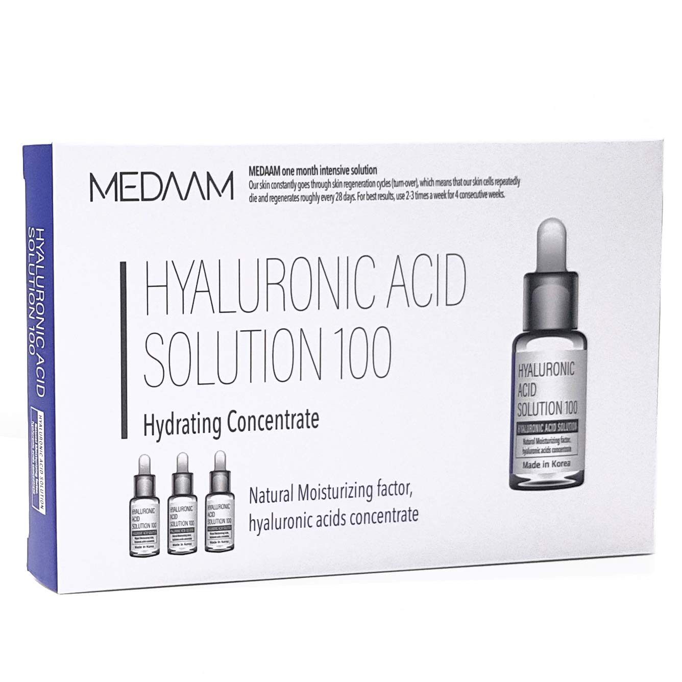[MEDAAM] Hyaluronic Acid solution 100 Hydrating Facial Moisturizer Ampoule | Intense Hydration for Dry and Dehydrated Skin, Premium Quality Anti Aging Serum (10ml×3EA)
