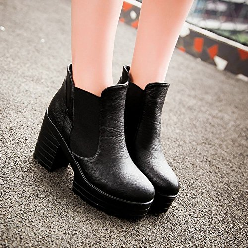 Carolbar Womens Street Bungee Simple Vintage Retro Platform High Chunky Heel Short Boots Zwart