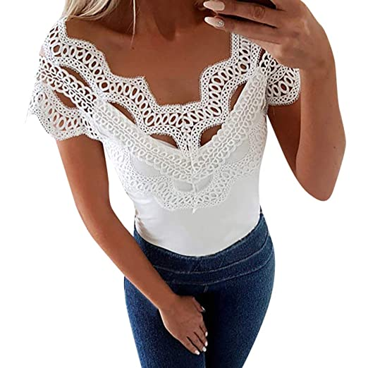 fe0803a12e90c9 iPOGP Blouse Women Short Sleeve Summer Casual Sexy Vest Lace Splice V Neck  Solid Tops T Shirt Girls Fashion 2019 at Amazon Women's Clothing store: