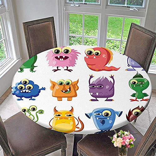 Mikihome Modern Simple Round Tablecloth Animated Bacteria Aliens Theme Germ Whimsical Cartoon Monsters with Humor Faces Graphic Artwork Decoration Washable 59