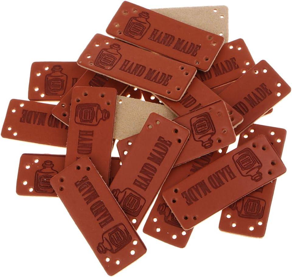 joyMerit 20er Set Lederetiketten Label Ann/äher Etikett Leder Hand Made N/ähen DIY 001
